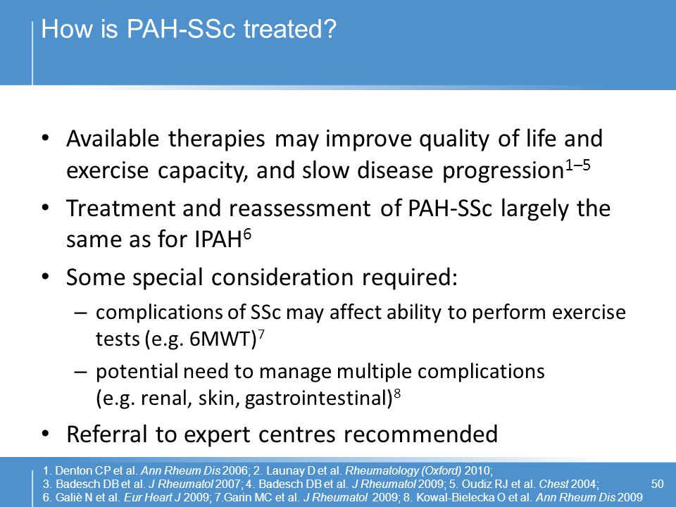 Treatment and reassessment of PAH-SSc largely the same as for IPAH6