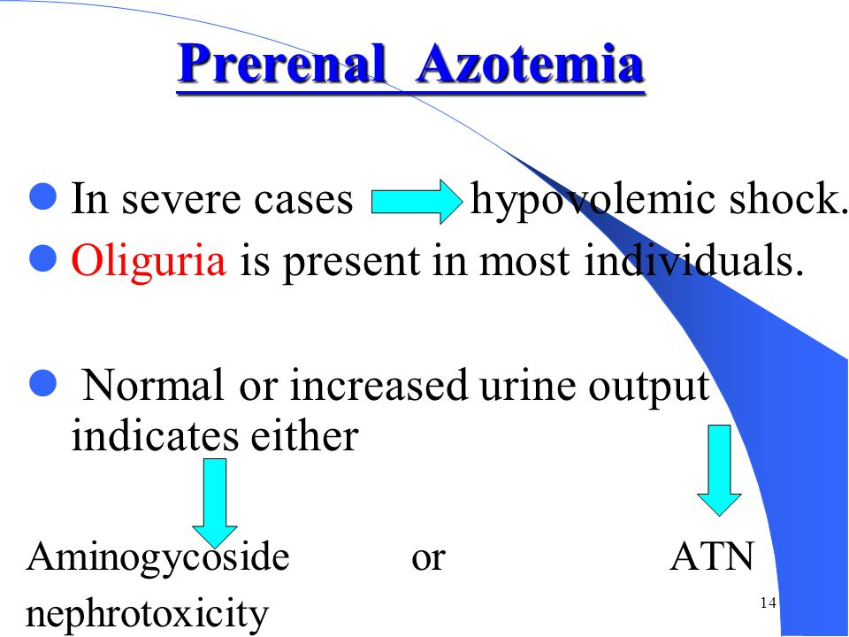 Prerenal Azotemia In severe cases hypovolemic shock.