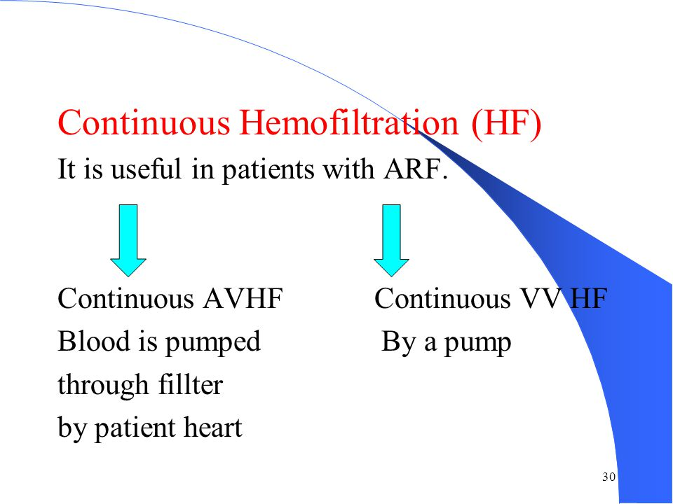 Continuous Hemofiltration (HF)