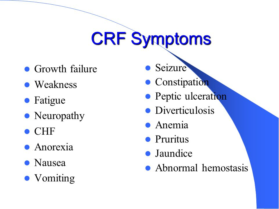 CRF Symptoms Growth failure Weakness Fatigue Neuropathy CHF Anorexia