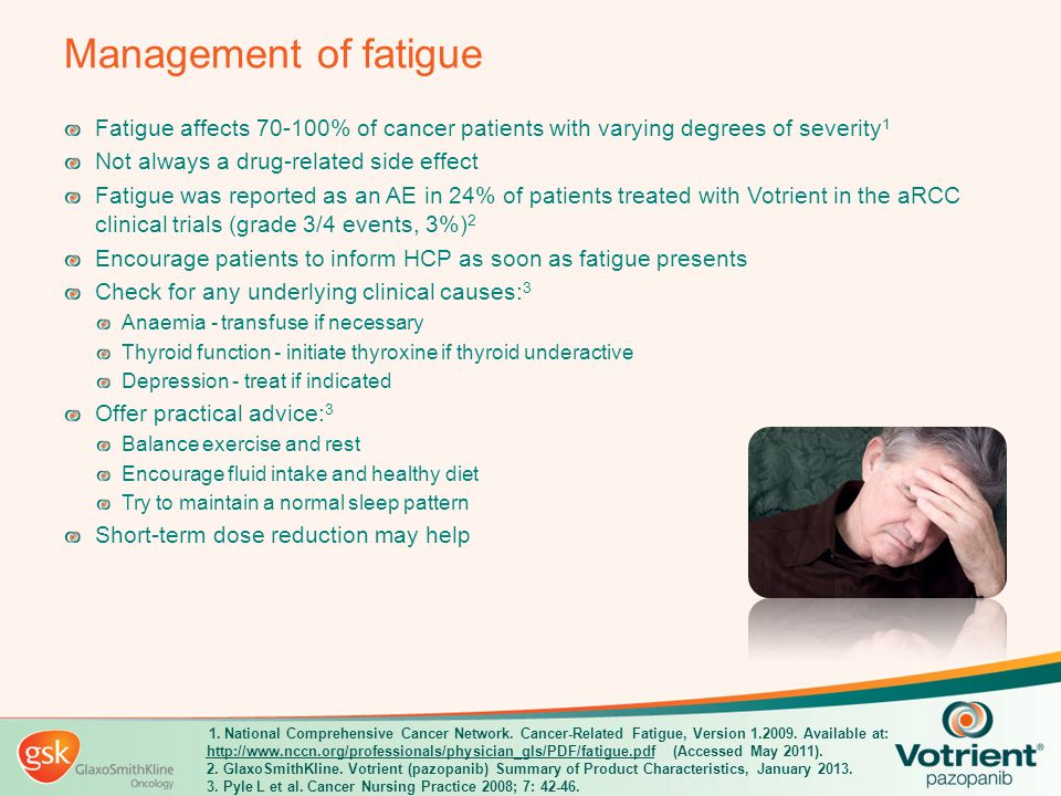 Management of fatigue Fatigue affects 70-100% of cancer patients with varying degrees of severity1.