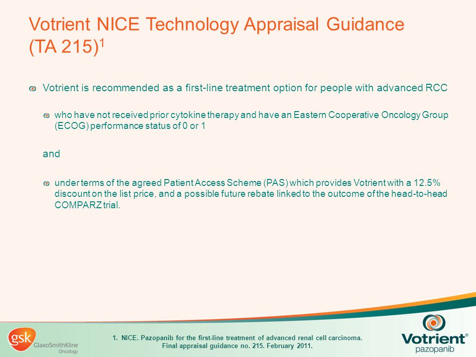 Votrient NICE Technology Appraisal Guidance (TA 215)1