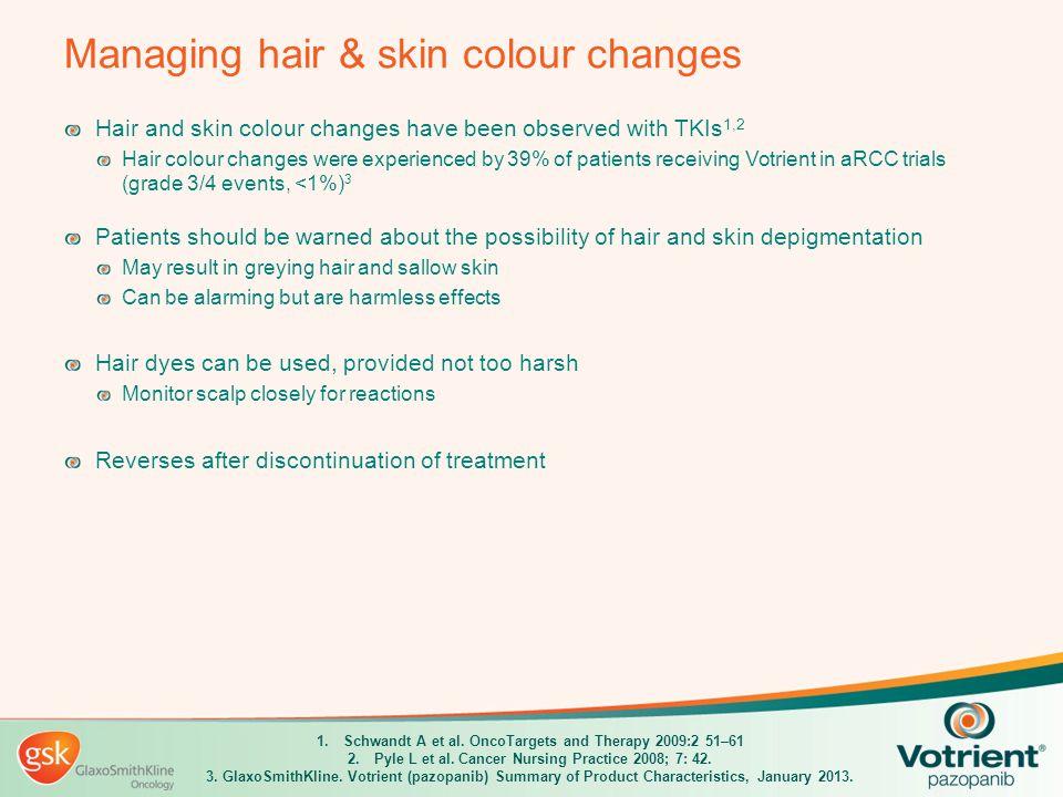 Managing hair & skin colour changes