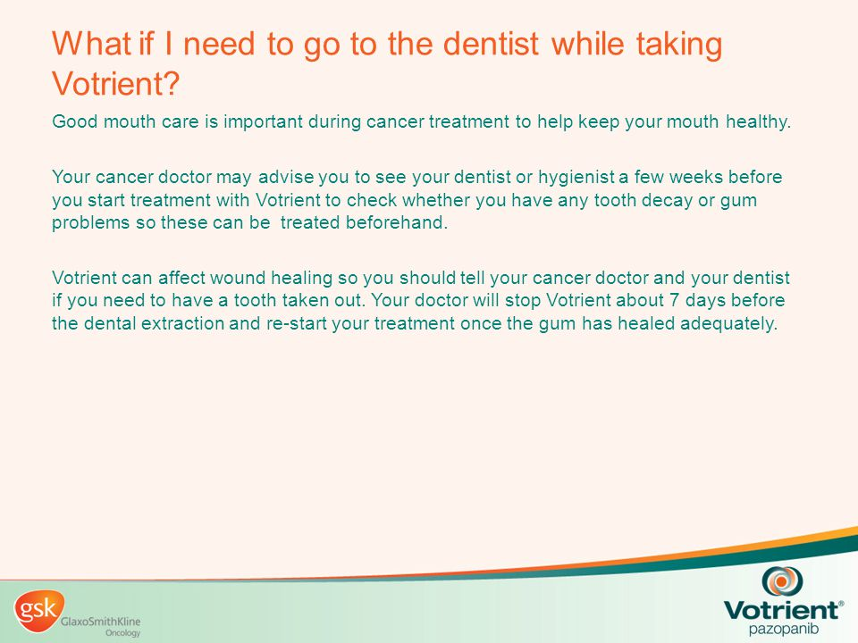 What if I need to go to the dentist while taking Votrient