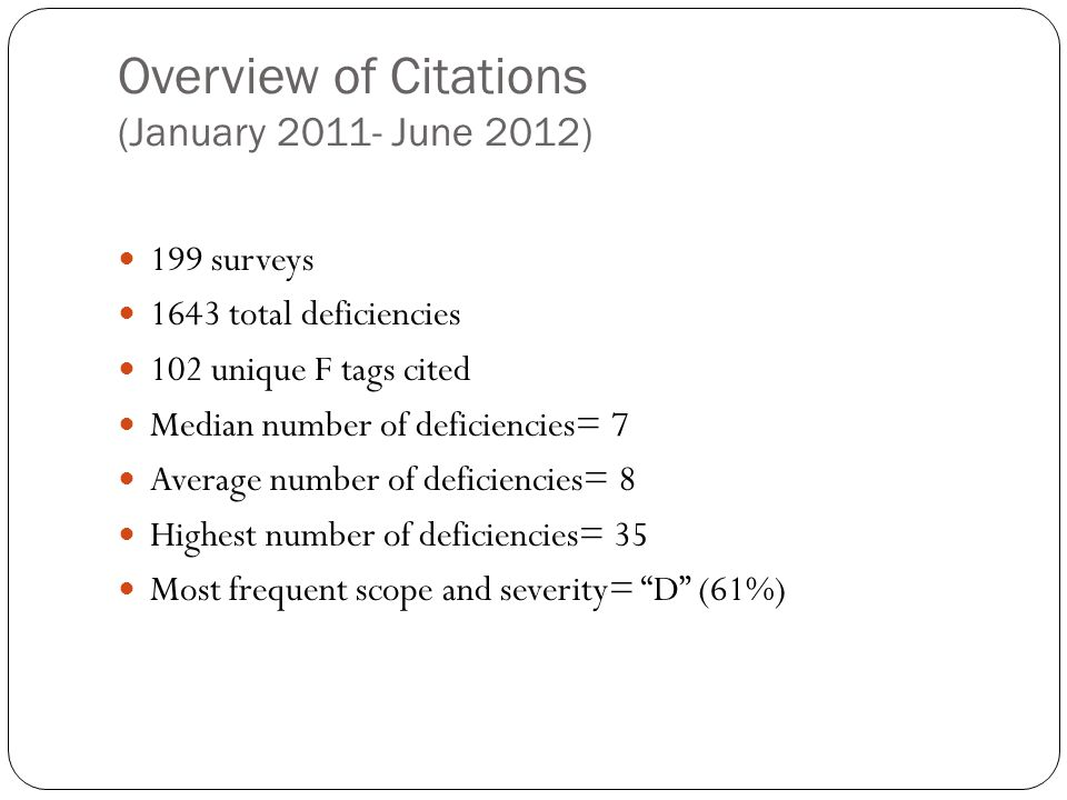 Overview of Citations (January 2011- June 2012)