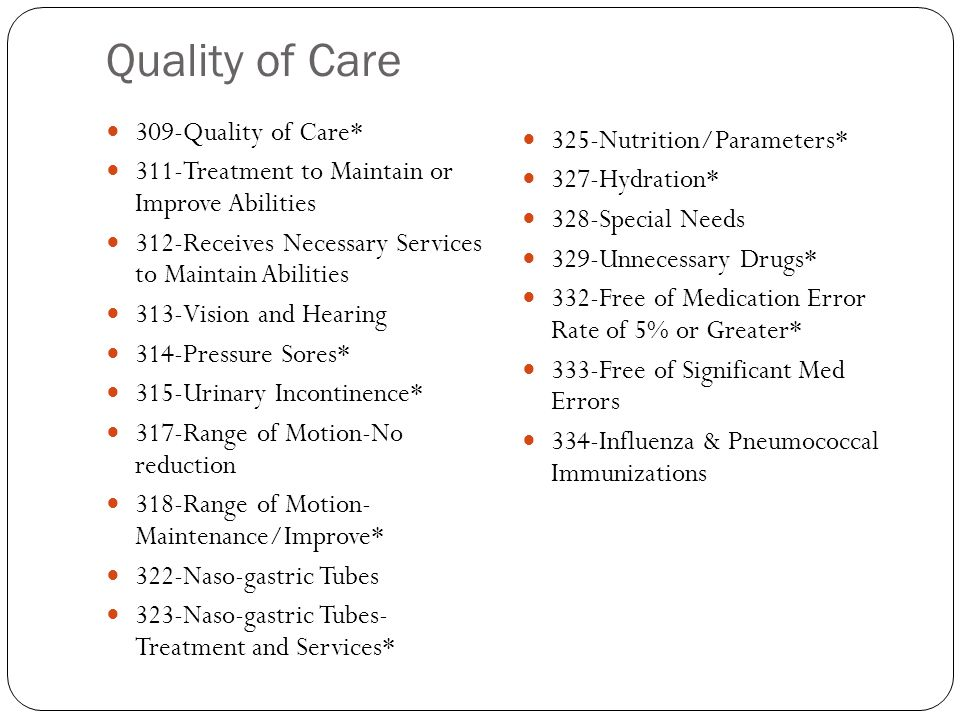 Quality of Care 309-Quality of Care* 325-Nutrition/Parameters*