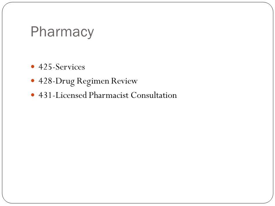 Pharmacy 425-Services 428-Drug Regimen Review