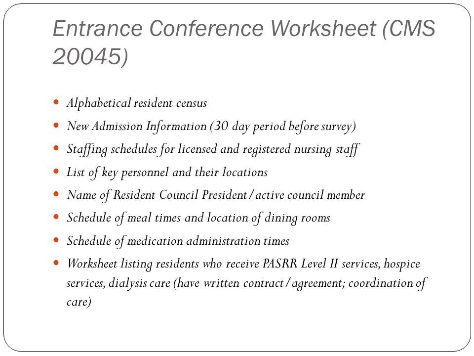 Entrance Conference Worksheet (CMS 20045)