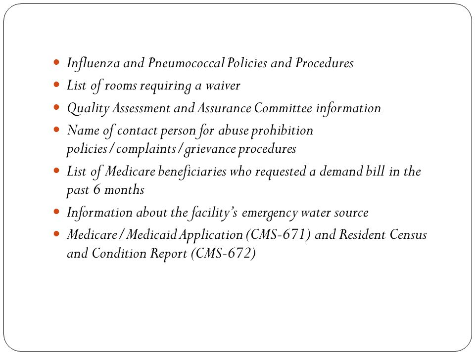 Influenza and Pneumococcal Policies and Procedures