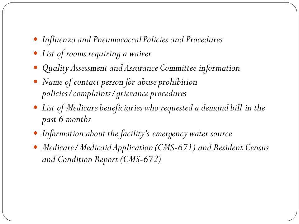 Influenza and Pneumococcal Policies and Procedures