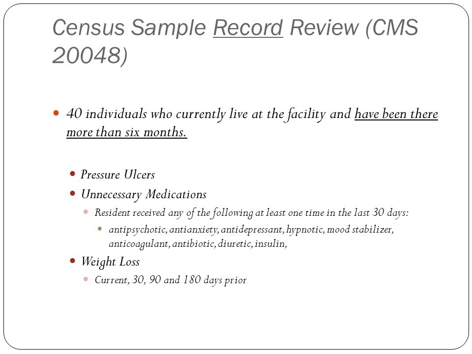 Census Sample Record Review (CMS 20048)