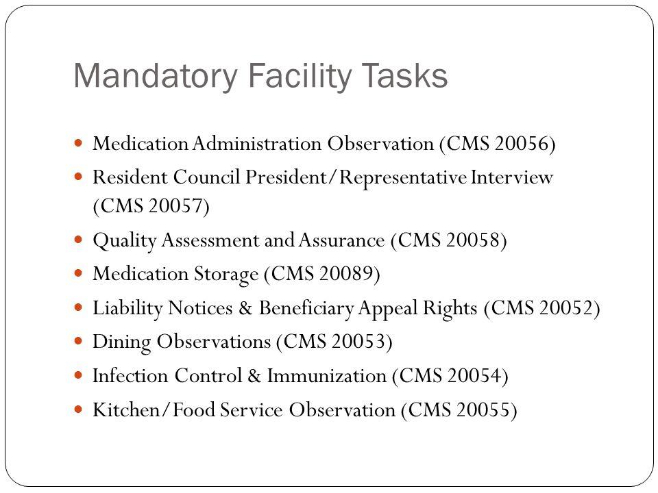 Mandatory Facility Tasks