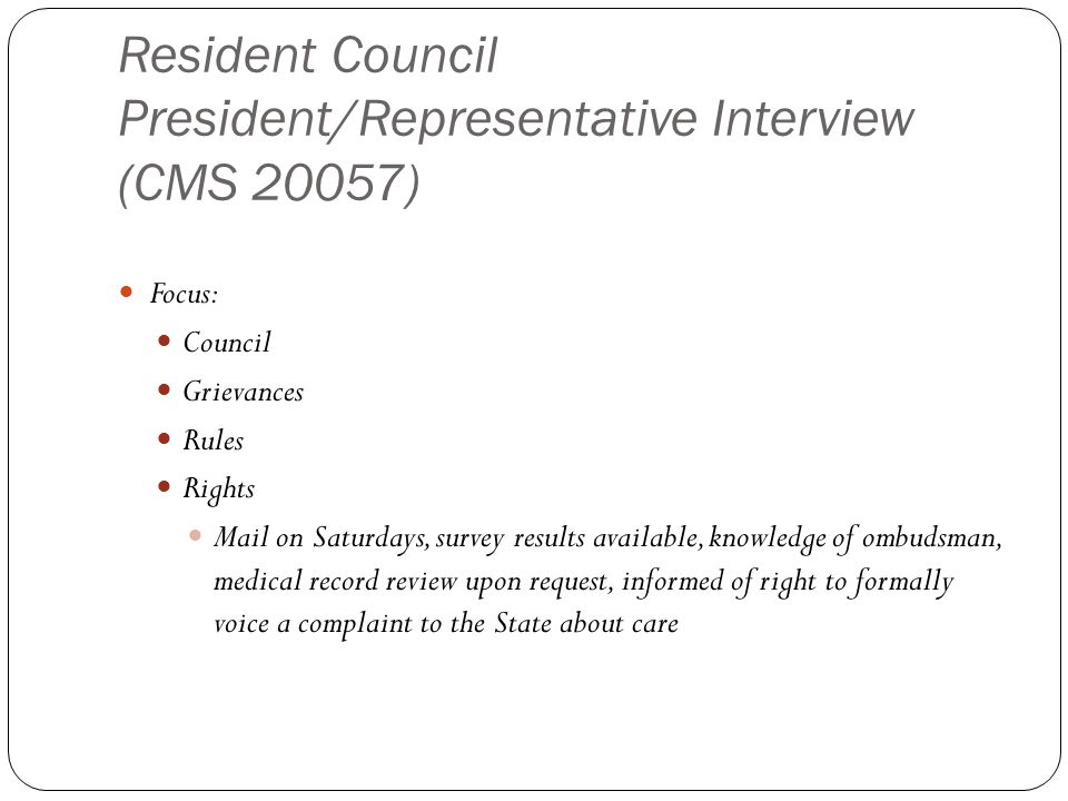 Resident Council President/Representative Interview (CMS 20057)