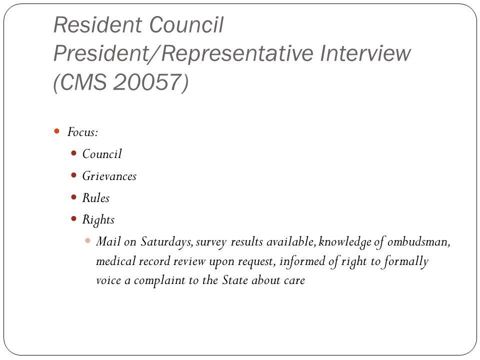 Resident Council President/Representative Interview (CMS 20057)