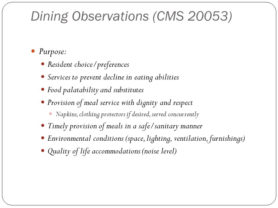 Dining Observations (CMS 20053)