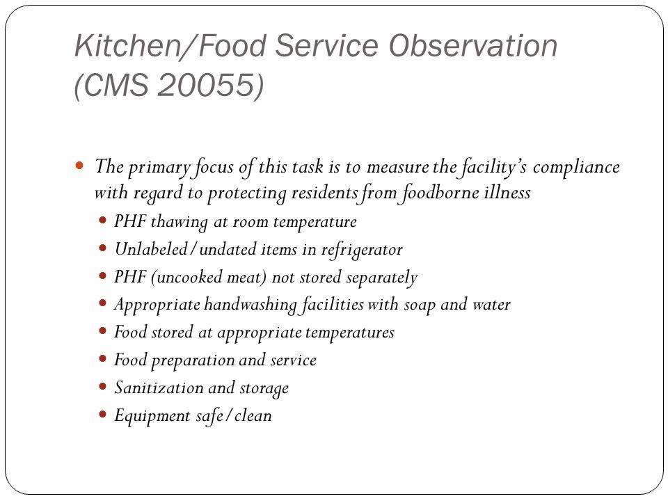Kitchen/Food Service Observation (CMS 20055)