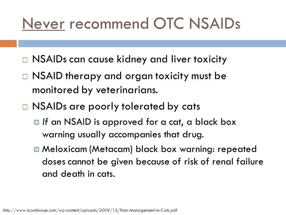 Never recommend OTC NSAIDs