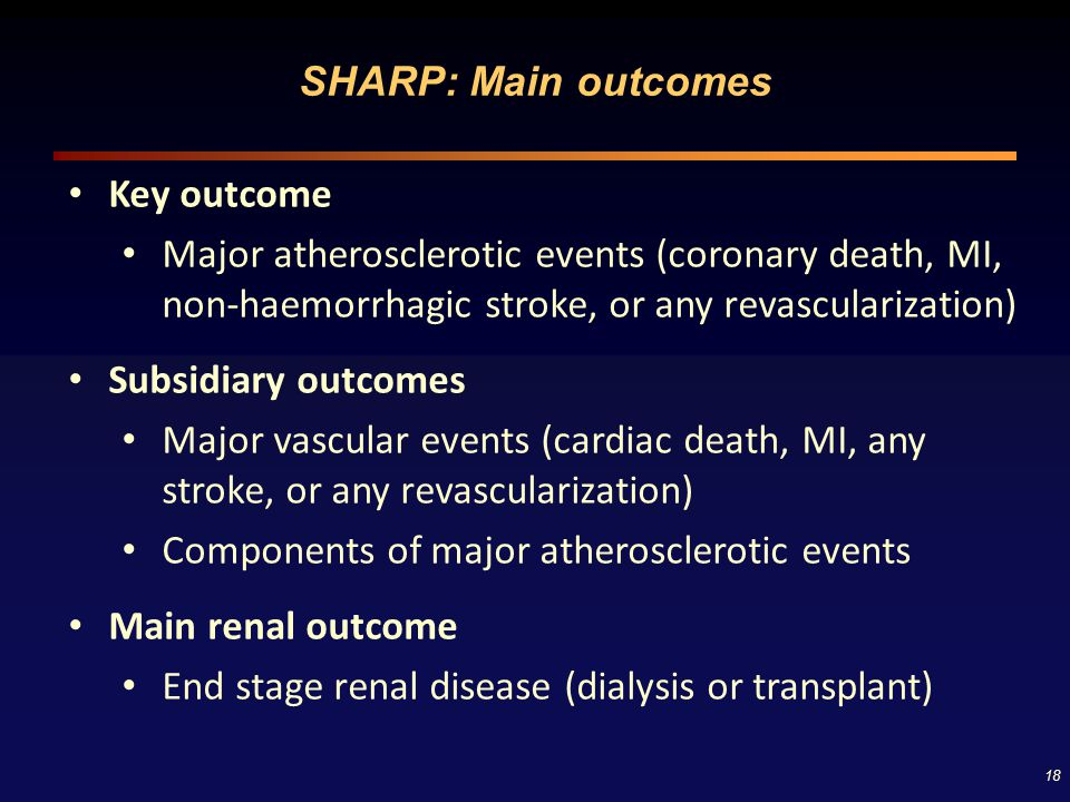 SHARP: Main outcomes Key outcome. Major atherosclerotic events (coronary death, MI, non-haemorrhagic stroke, or any revascularization)
