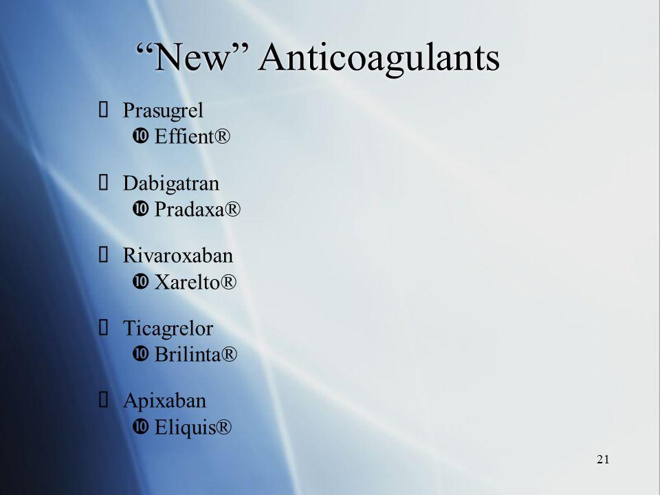 New Anticoagulants Prasugrel Effient® Dabigatran Pradaxa®