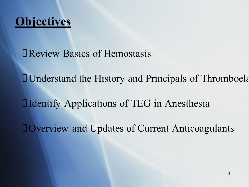 Objectives Review Basics of Hemostasis