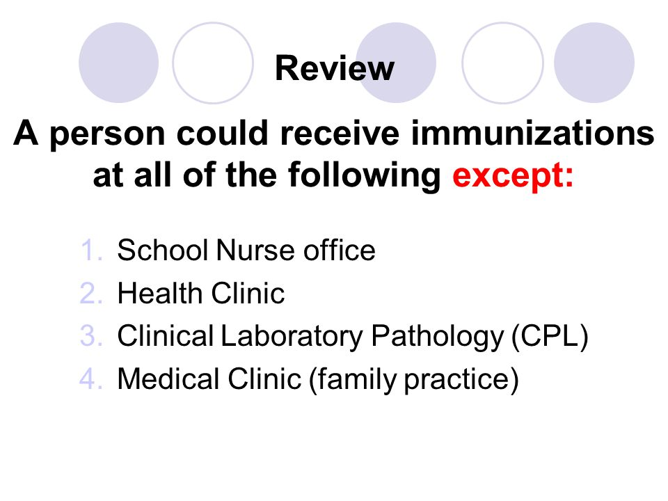 Review A person could receive immunizations at all of the following except: