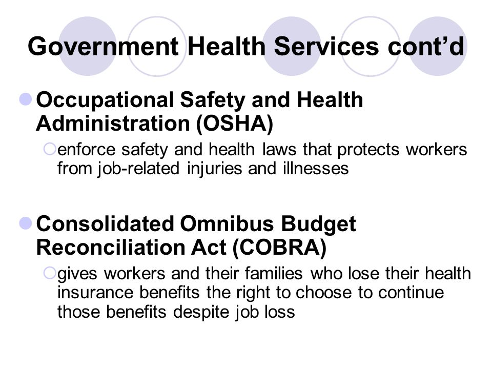 Government Health Services cont'd