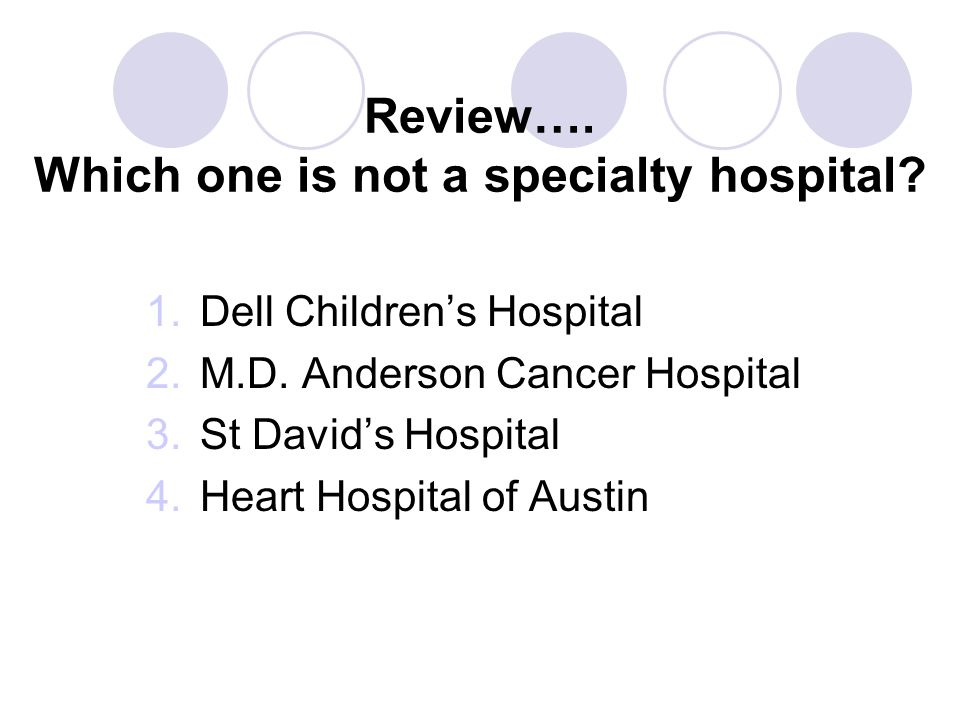 Review…. Which one is not a specialty hospital