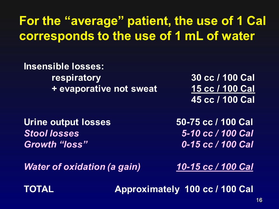 For the average patient, the use of 1 Cal corresponds to the use of 1 mL of water