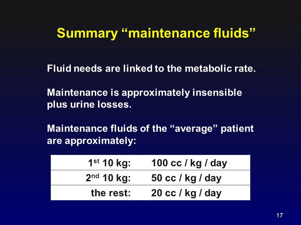 Summary maintenance fluids