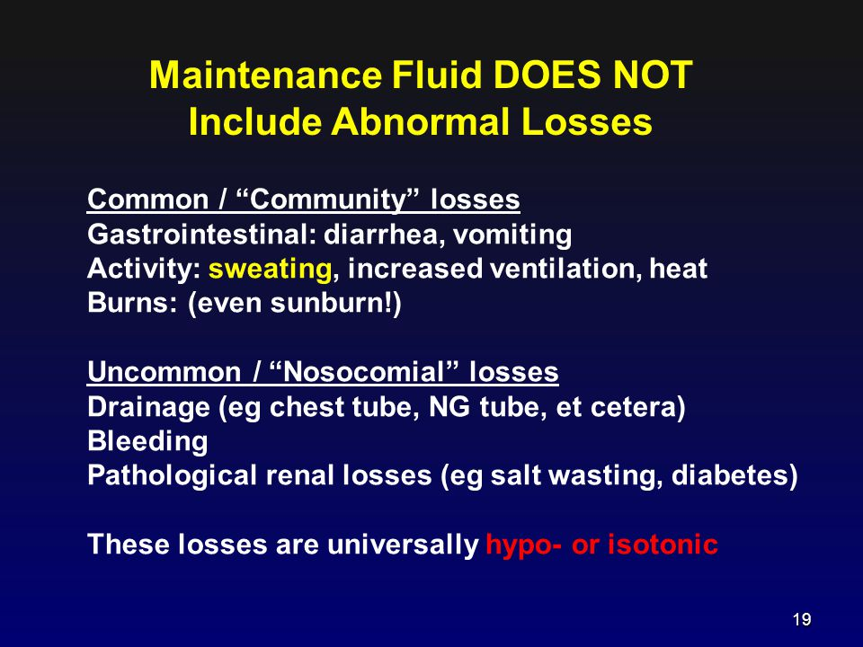 Maintenance Fluid DOES NOT Include Abnormal Losses