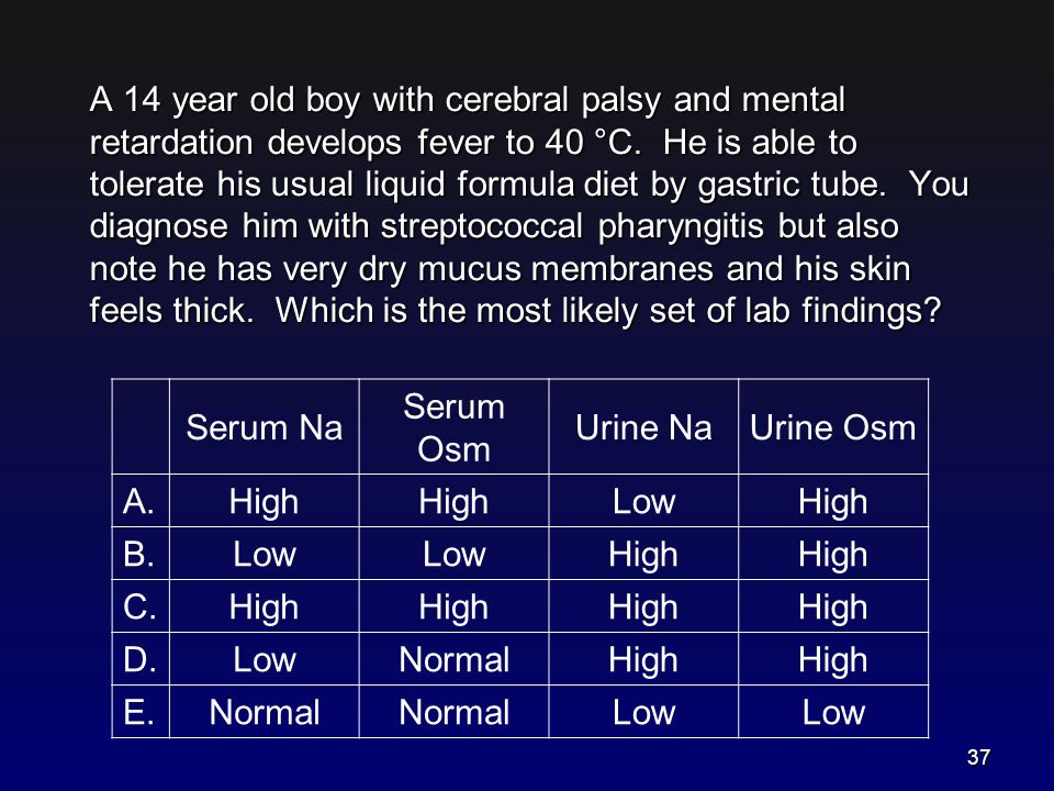 A 14 year old boy with cerebral palsy and mental retardation develops fever to 40 °C. He is able to tolerate his usual liquid formula diet by gastric tube. You diagnose him with streptococcal pharyngitis but also note he has very dry mucus membranes and his skin feels thick. Which is the most likely set of lab findings