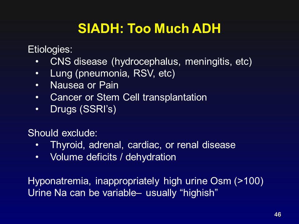 SIADH: Too Much ADH Etiologies: