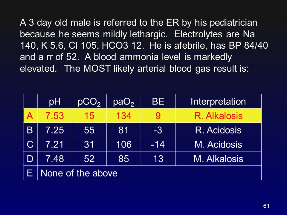 A 3 day old male is referred to the ER by his pediatrician because he seems mildly lethargic. Electrolytes are Na 140, K 5.6, Cl 105, HCO3 12. He is afebrile, has BP 84/40 and a rr of 52. A blood ammonia level is markedly elevated. The MOST likely arterial blood gas result is:
