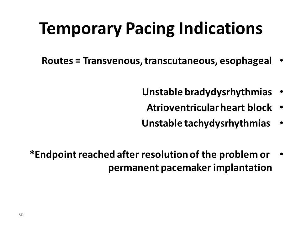 Temporary Pacing Indications