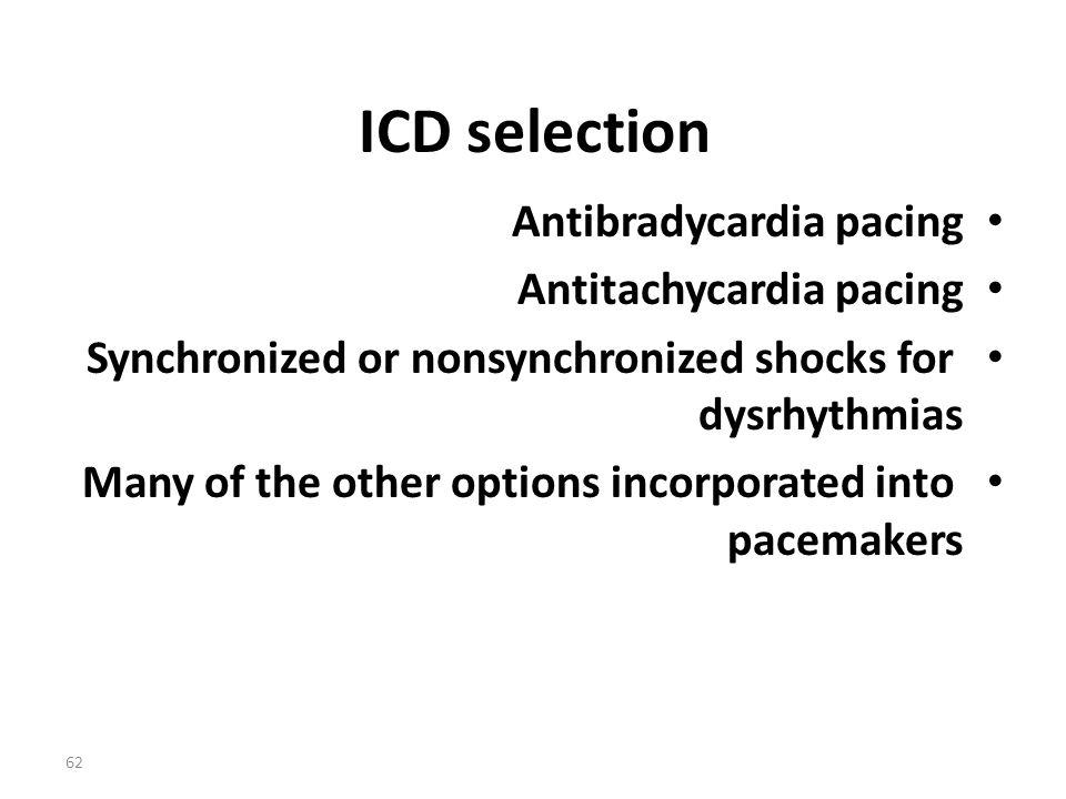 ICD selection Antibradycardia pacing Antitachycardia pacing