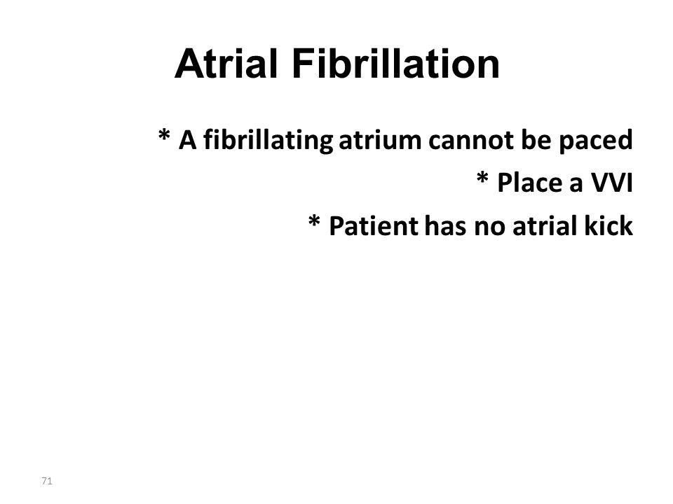 Atrial Fibrillation * A fibrillating atrium cannot be paced