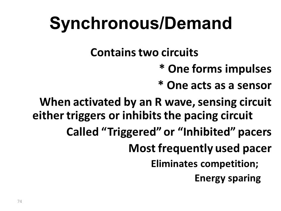 Synchronous/Demand Contains two circuits * One forms impulses