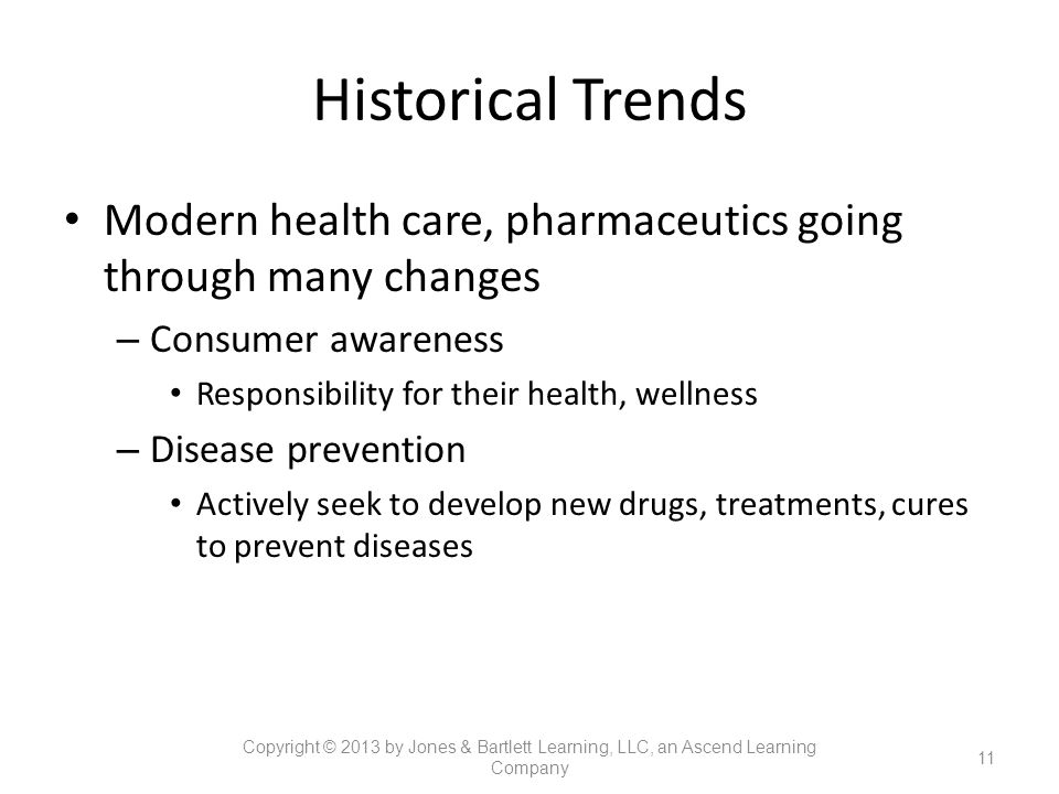 Historical Trends Modern health care, pharmaceutics going through many changes. Consumer awareness.