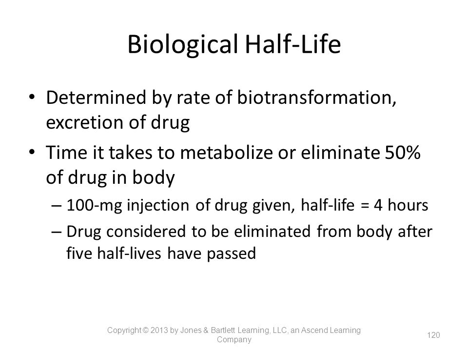 Biological Half-Life Determined by rate of biotransformation, excretion of drug. Time it takes to metabolize or eliminate 50% of drug in body.