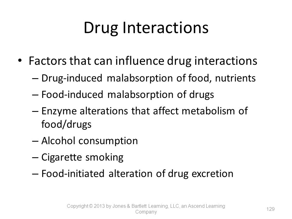 Drug Interactions Factors that can influence drug interactions