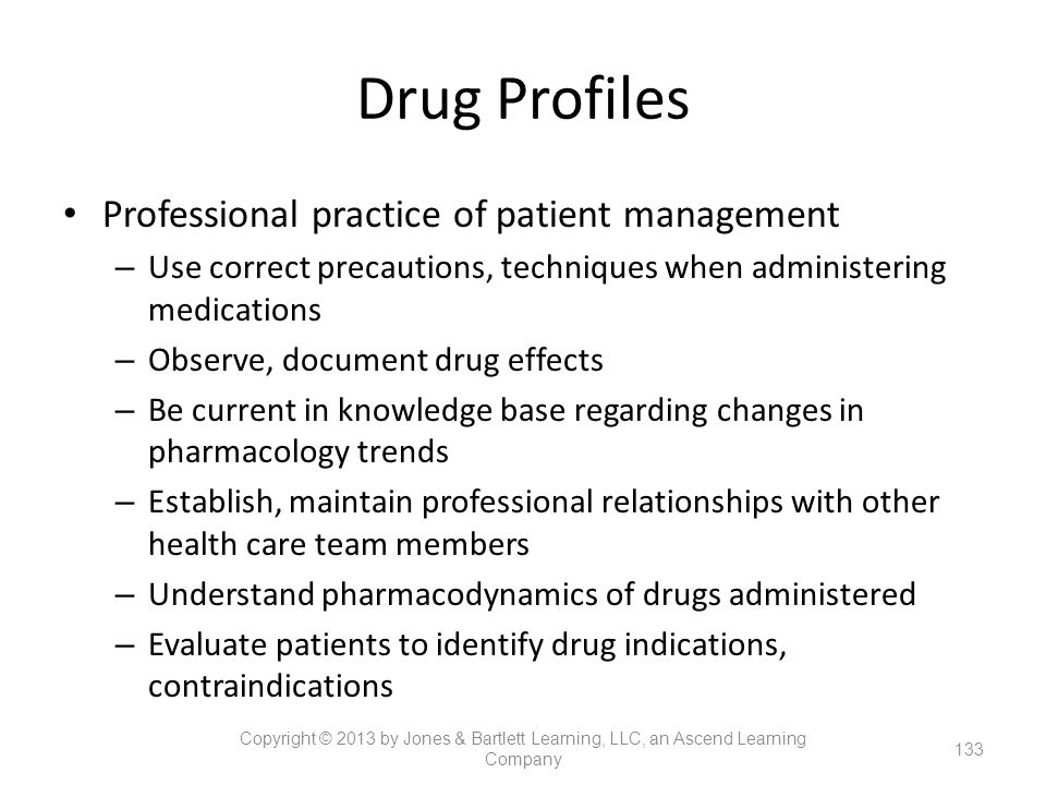 Drug Profiles Professional practice of patient management