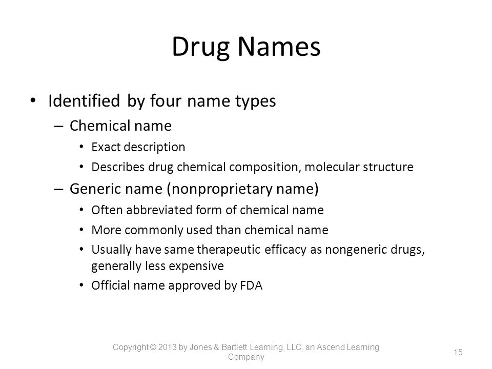 Drug Names Identified by four name types Chemical name