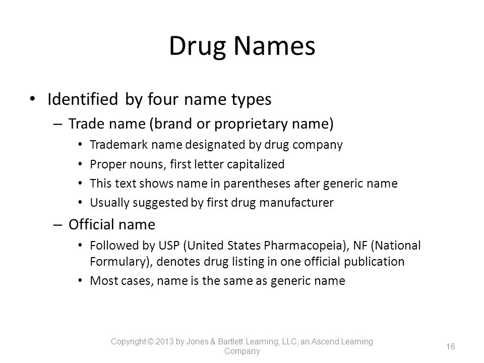 Drug Names Identified by four name types