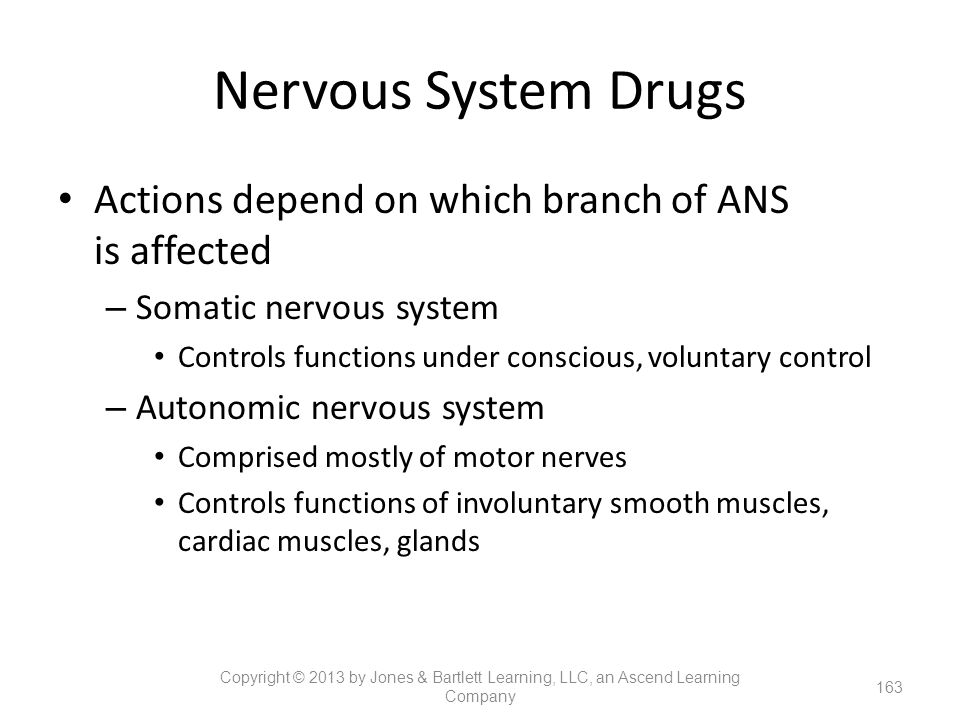 Nervous System Drugs Actions depend on which branch of ANS is affected