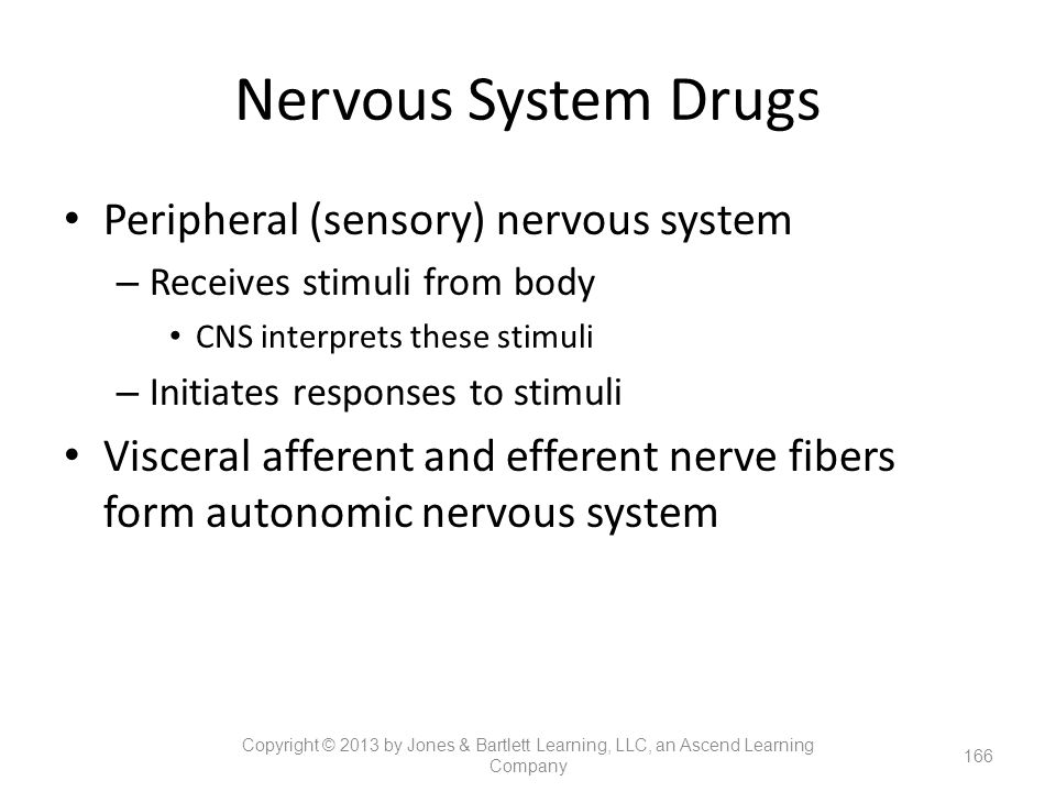 Nervous System Drugs Peripheral (sensory) nervous system