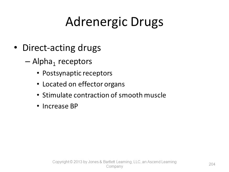 Adrenergic Drugs Direct-acting drugs Alpha1 receptors