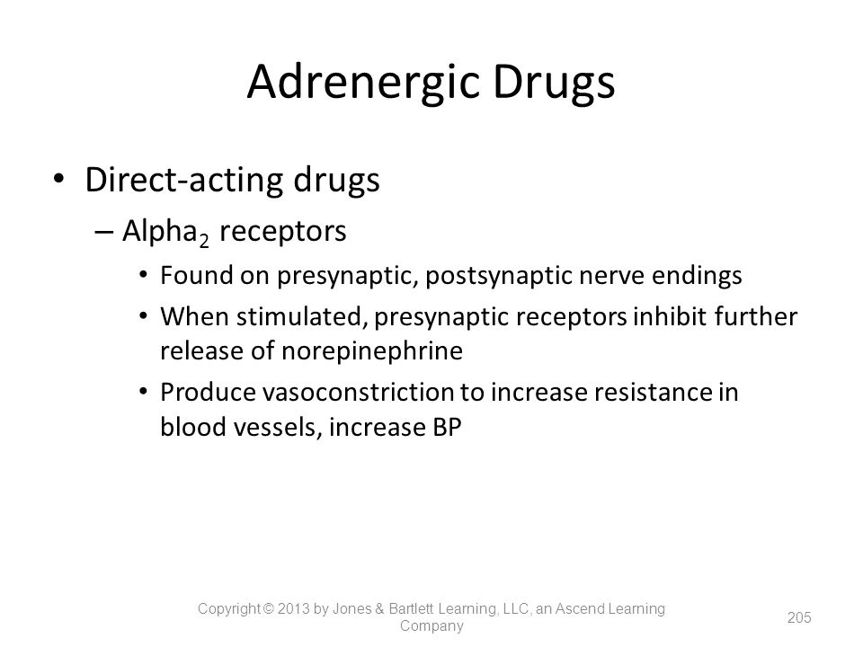 Adrenergic Drugs Direct-acting drugs Alpha2 receptors