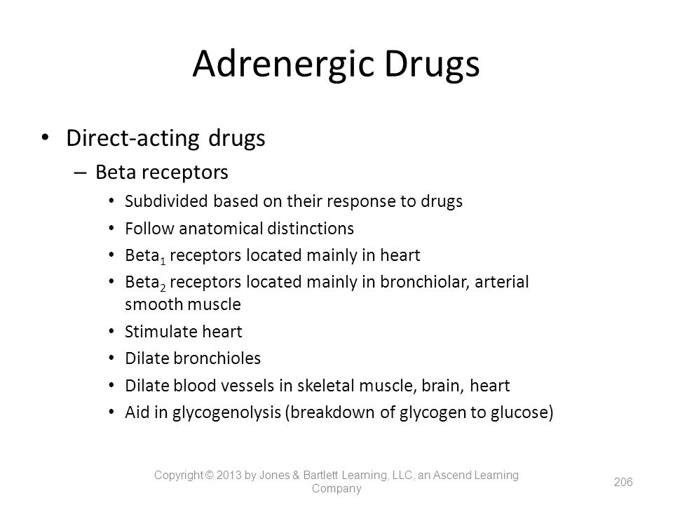 Adrenergic Drugs Direct-acting drugs Beta receptors
