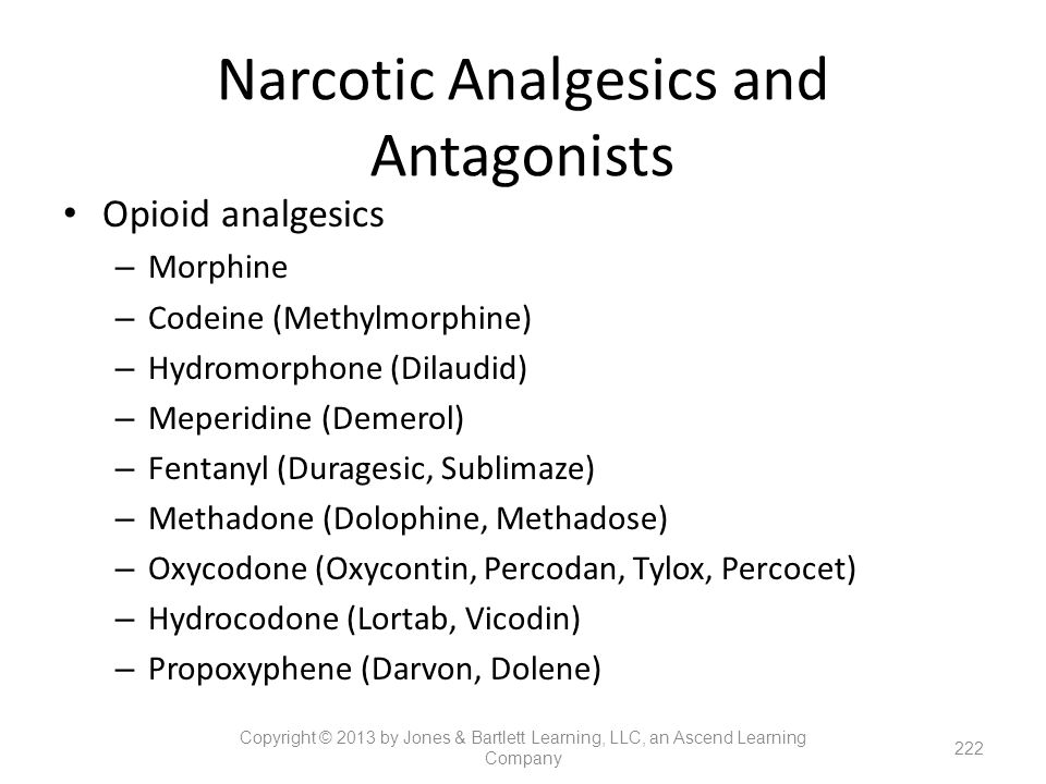 Narcotic Analgesics and Antagonists