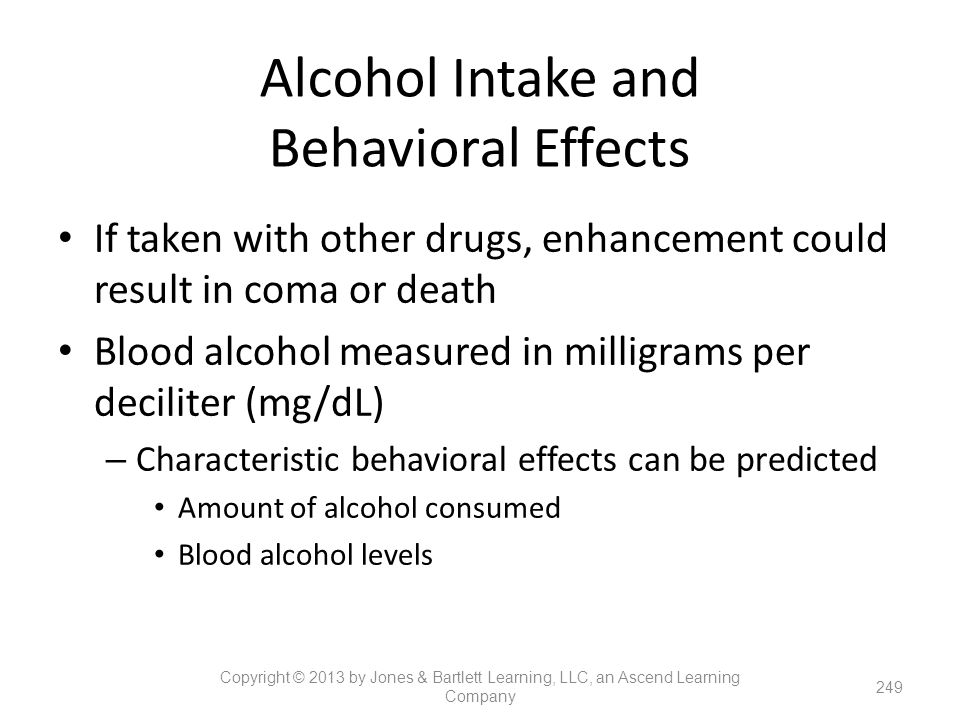 Alcohol Intake and Behavioral Effects